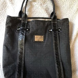 Guess tote black with leather straps